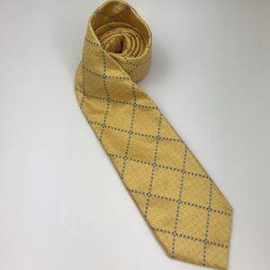 PINK Thomas Pink Men's Tie 100% Silk Gold & Blue